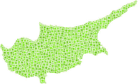 Map of Cyprus in a mosaic of green squares Stock Vector - 17669028