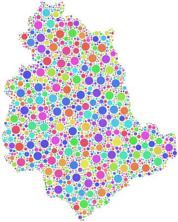 Mappa di Umbria - Italia - nel mosaico di cerchi arlecchino