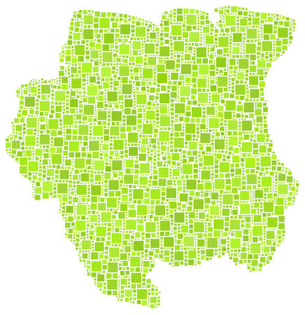 latina: Map of Suriname - latina America - in a mosaic of green squares  White background