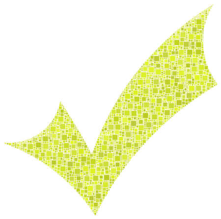 Positive checkmark in a mosaic of green squares Vector