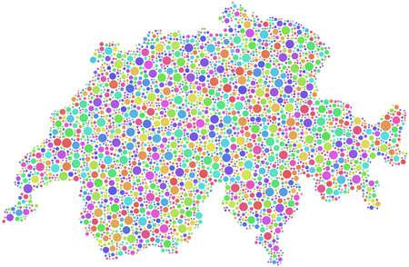 Carte de Suisse - Europe - dans une mosaïque de bulles arlequin blanc fond Banque d'images - 18149187