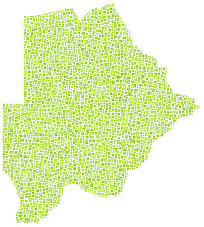 botswanan: Map of Botswana - Africa - in a mosaic of green squares