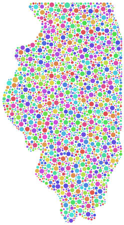 midwest: Map of Illinois - USA- in a mosaic of harlequin bubbles Illustration