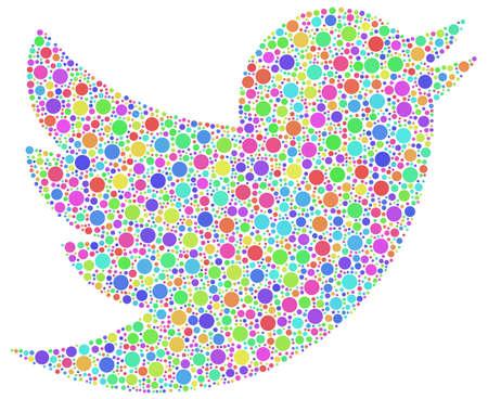 Twitter logo in a mosaic of little bubbles