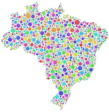 Map of Brasil in a mosaic of harlequin circles