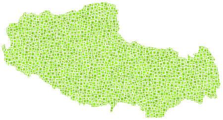 緑の正方形のモザイクのチベット - アジア - 地図