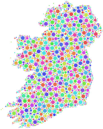 irish sea: Map of Ireland - Europe - in a mosaic of harlequin circles Illustration