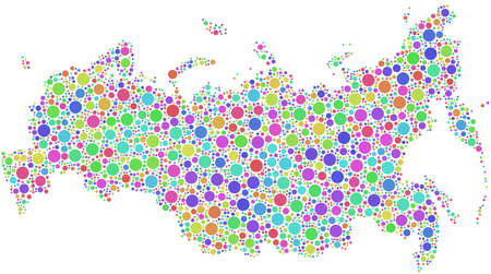 Map of Russia in a mosaic of harlequin bubbles Vector