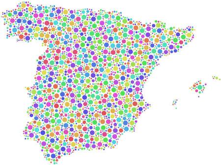 Kaart van Spanje - Europa - in een mozaïek van harlekijn bubbels Stock Illustratie