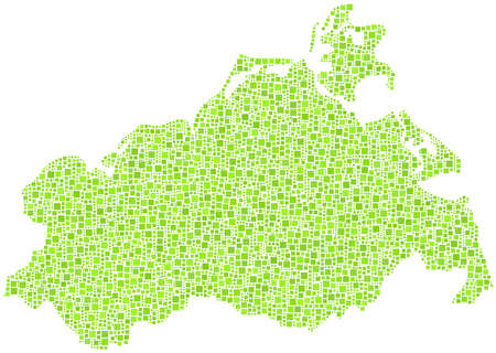 mecklenburg: Map of Mecklenburg- Germany - in a mosaic of green squares
