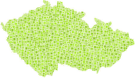 Map of Czech Republic - Europe - in a mosaic of green squares Ilustração
