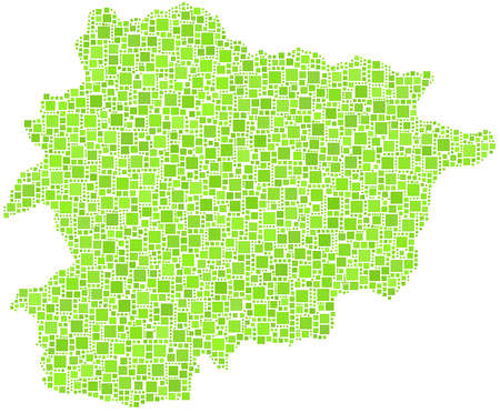 Map of Andorra - Europe - in a mosaic of green squares Ilustrace