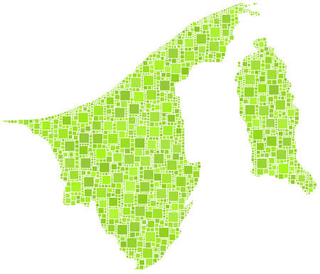 sultano: Mappa di Brunei - Asia - in un mosaico di verde piazzette