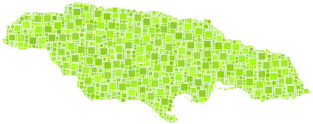 kingston: Map of Jamaica - America - in a mosaic of green squares
