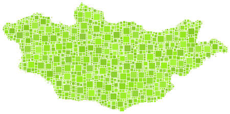 steppe: Decorative map of Mongolia - Asia - in a mosaic of green squares
