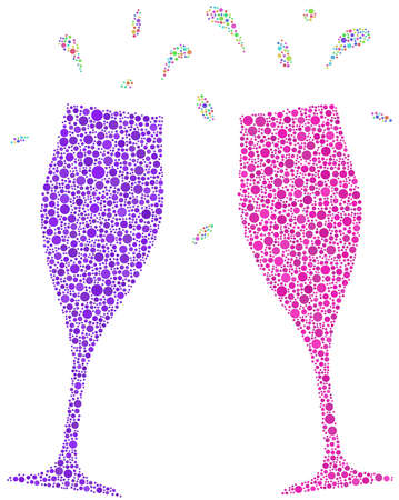 stemware: Decorative mosaic of two flutes for a cheers