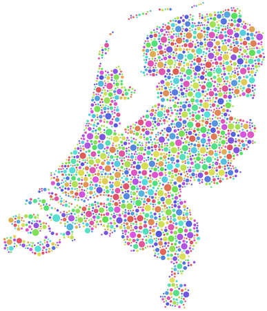 Isolated map of Holland - Europe - in a mosaic of harlequin circles Stock Vector - 20542536