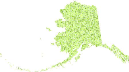 alaskabo: Map of Alaska - USA - in a mosaic of green squares