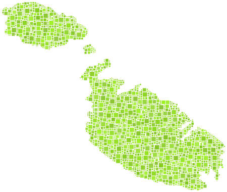 Map of Malta - Europe - in a mosaic of green squares Stock Vector - 21525757