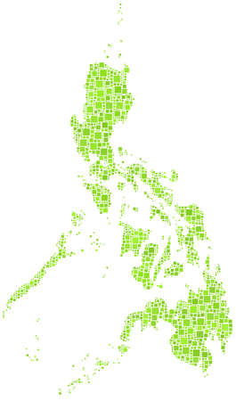 Republic of the Philippines in a mosaic of green squares Illustration