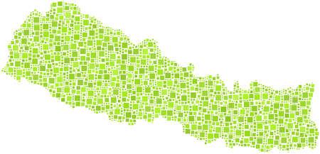 緑の正方形のモザイクでネパール - アジア - 地図