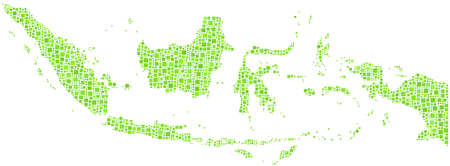 indonesia people: Map of the Republic of Indonesia in a mosaic of green squares
