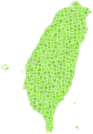Decorative map of Taiwan - Asia - in a mosaic of green squares