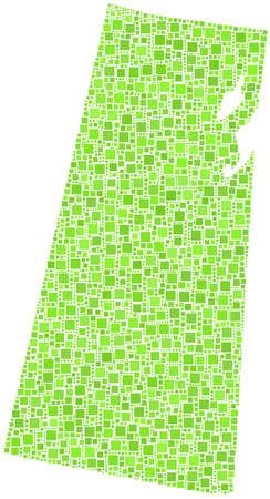 regina: Decorative map of Saskatchewan - Canada - in a mosaic of green squares