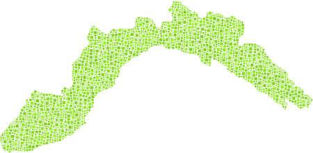 녹색 사각형의 모자이크 - 이탈리아 - 리구 리아의 장식지도