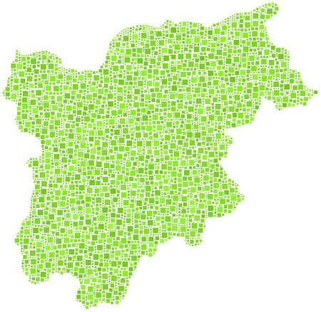 녹색 사각형의 모자이크에 Trentino 알토 Adige의지도