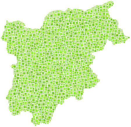 Map of Trentino Alto Adige in a mosaic of green squares Illustration