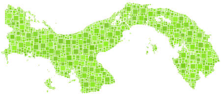 waterway: Decorative map of Panama - Central America - in a mosaic of green squares