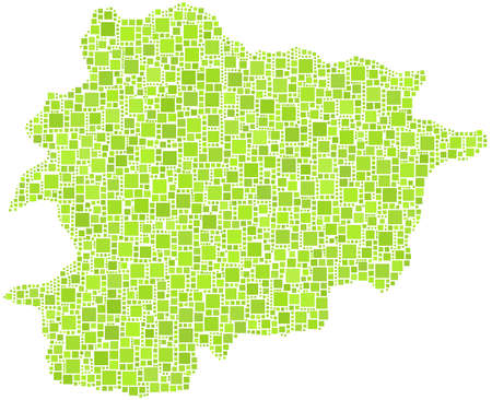 andorra: Principality of Andorra - Europe - in a mosaic of green squares Illustration
