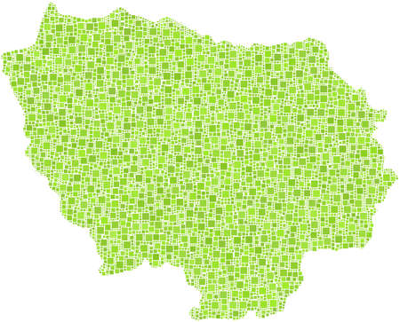 Decorative map of the ile-de-France in a mosaic of green squares Vector