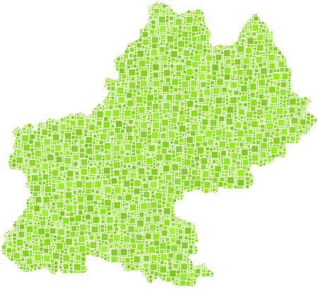 reims: Decorative map of the province of Champagne - France - in a mosaic of green squares