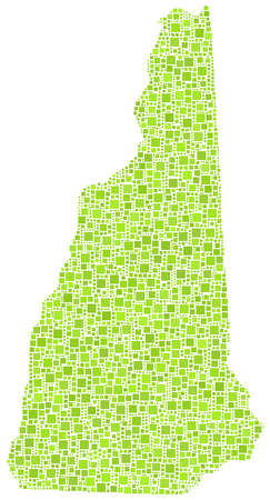 Decorative map New Hampshire - USA - in a mosaic of green squares Stock Vector - 22139644