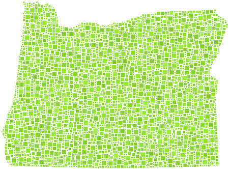 willamette: Decorative of map Oregon - USA - in a mosaic of green squares