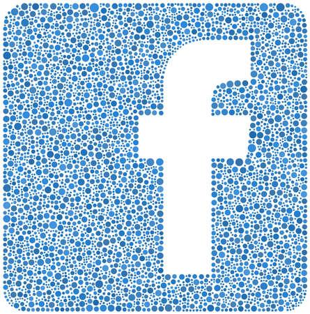 Facebook  Social Network logo in a mosaic of little circles