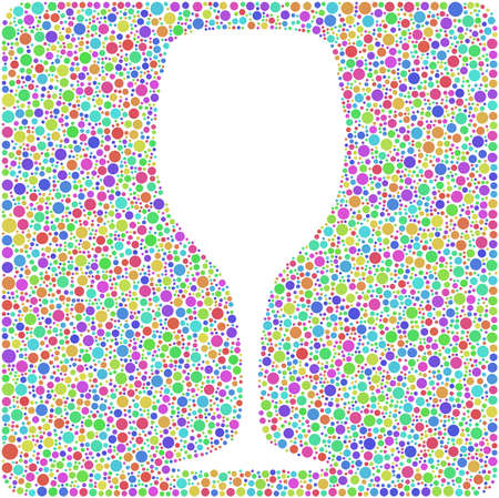 Decorative glass of wine into a square icon  Mosaic of harlequin bubbles  White background Illustration