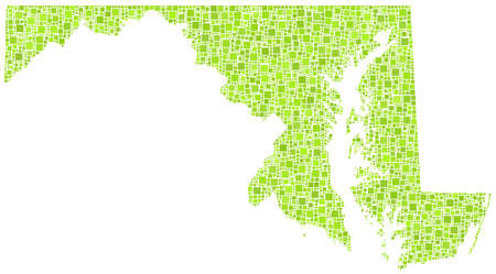 baltimore: Decorative map of Maryland - USA - in a mosaic of green squares