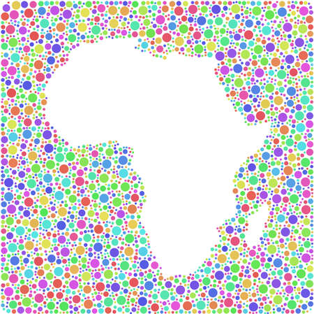 serengeti: Decorative map of Africa in a mosaic of harlequin bubbles Illustration
