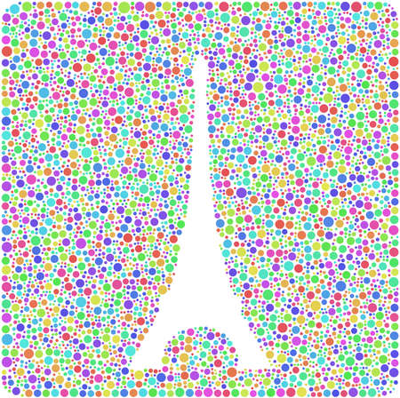 Colored mosaic of the Eiffel Tower in Paris - France - into a square sign