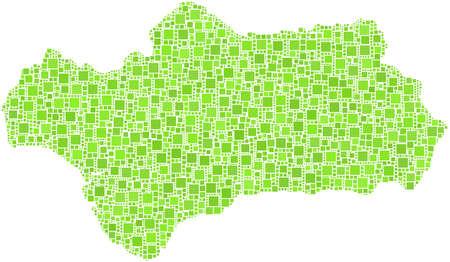 Decoratieve kaart van Andalusië - Spanje - in een mozaïek van groene pleinen