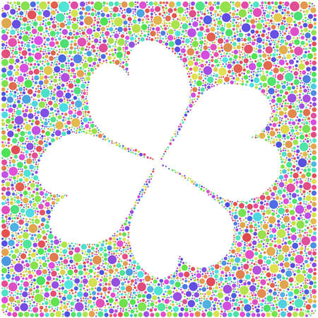 fortunate: Harlequin four leaf clover with mosaic tiles