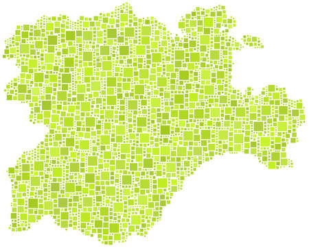 Region of Castile and Leon - Spain - in a mosaic of green squares Vector
