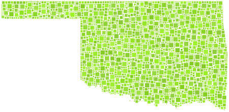 Decorative map of the State of Oklahoma - USA - in a mosaic of green squares Vector