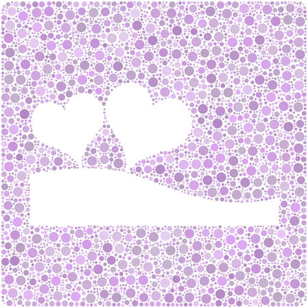 Two colored hearths into a square icon.  Mosaic of colored violet circles