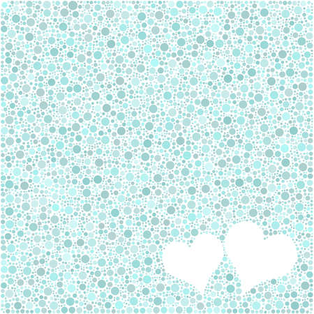 fondness: Two hearths into a square icon full of bubbles.  Mosaic of colored little circles