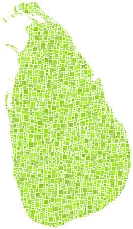 sri: Decorative map of Sri Lanka - Asia - in a mosaic of green squares Illustration