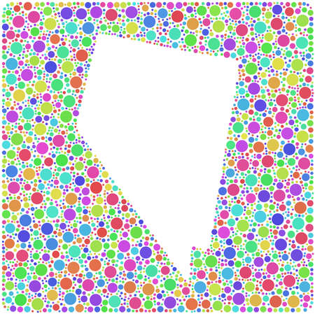 Map of Nevada USA in a mosaic of little bubbles into a square icon